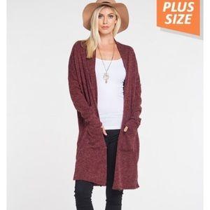 Sweaters - Plus size cardigan in burgundy